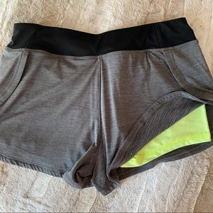 Layer 8 Double Layer Athletic Shorts - Gray/Yellow